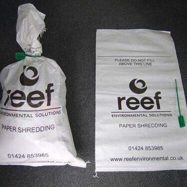 Buy Paper Shredding Sacks from Reef Environmental Solutions