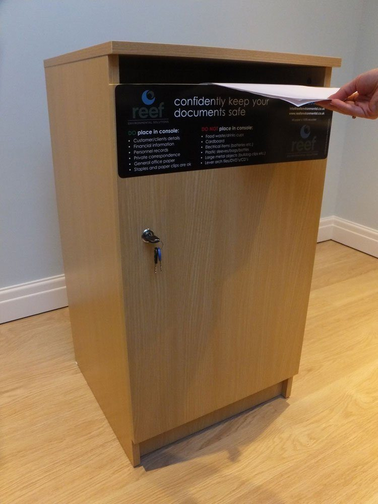 Secure office consoles for confidential paper shredding from Reef Environmental