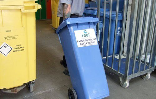 Secure wheelie bins for confidential waste from Reef Environmental